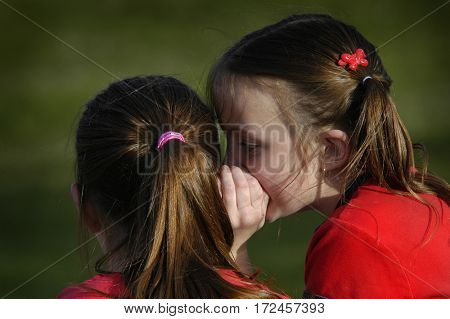 Sisters telling secrets friends by whispering in ears to each other