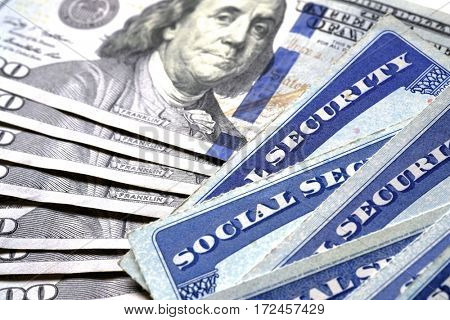 Social Security Cards for identification and retirment USA poster