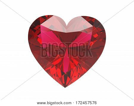 3D illustration red diamond heart on a white background