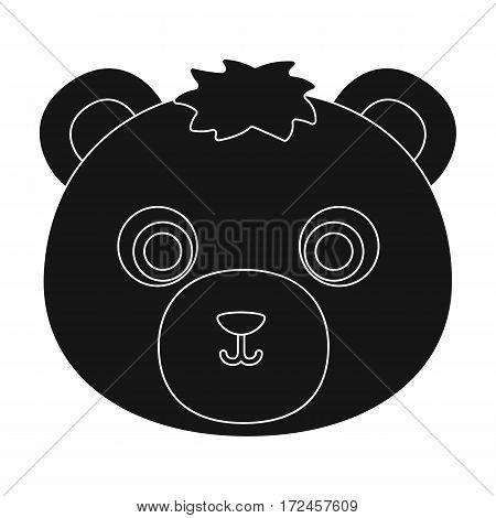 Bear muzzle icon in black design isolated on white background. Animal muzzle symbol stock vector illustration.