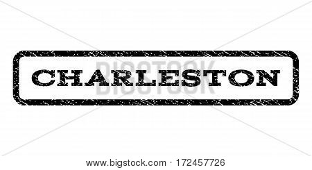 Charleston watermark stamp. Text caption inside rounded rectangle with grunge design style. Rubber seal stamp with dirty texture. Vector black ink imprint on a white background.