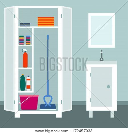 Tools for housework Tools for housework Vector illustration Tools for housework in the white cupboard in the bathroom Flat design