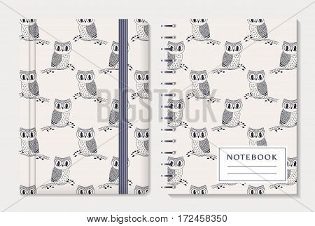 Notebook cover design. Notepad with elastic band and spiral pad. Cute collection with hand drawn owls. Vector set.