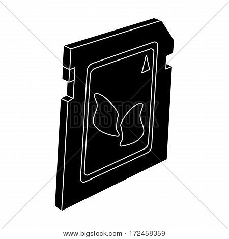 SD card icon in black design isolated on white background. Personal computer accessories symbol stock vector illustration.