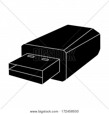 USB flash drive icon in black design isolated on white background. Personal computer accessories symbol stock vector illustration.