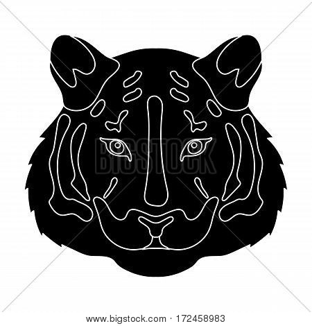 Tiger icon in black design isolated on white background. Realistic animals symbol stock vector illustration.