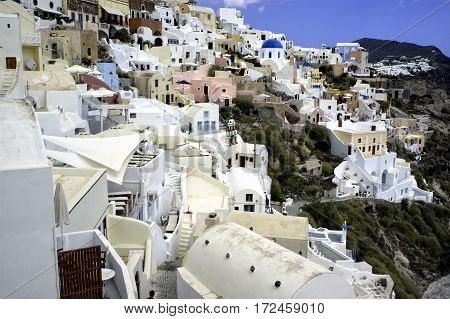 Colorful cliffside town on the Greek island, Santorini