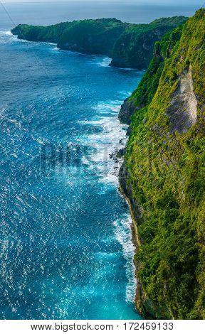 Rocky Costline near Kelingking Beach, Manta Bay on Nusa Penida Island, Bali, Indonesia