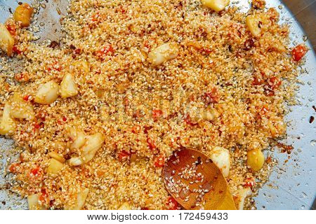 seafood paella from spain recipe fry rice step preparation