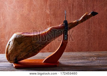 Iberian ham pata negra from Spain on wood background