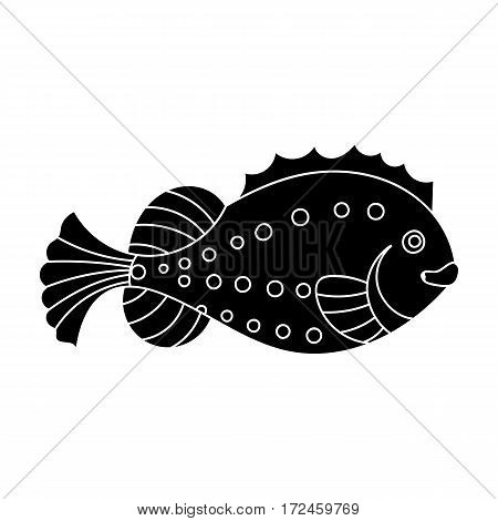 Sea fish icon in black design isolated on white background. Sea animals symbol stock vector illustration.