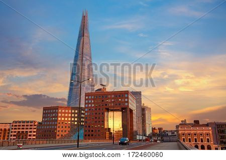 London The Shard building at sunset in England