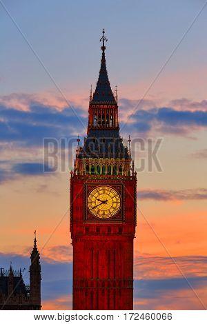 Big Ben Clock Tower in London sunset closeup England