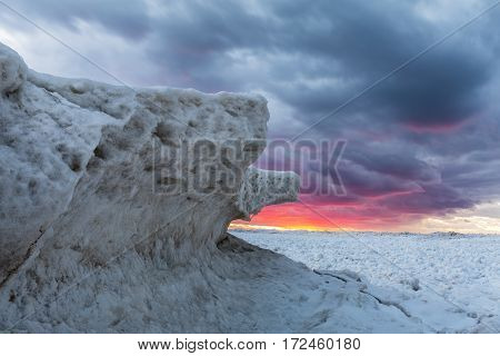 Ice Formations On Lake Huron At Sunset - Ontario, Canada