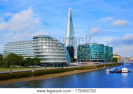 London skyline City Hall and Shard on Thames river