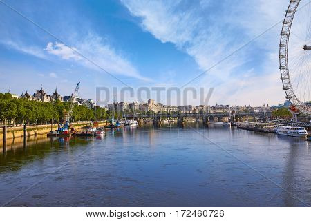 London Skyline from Thames river in England