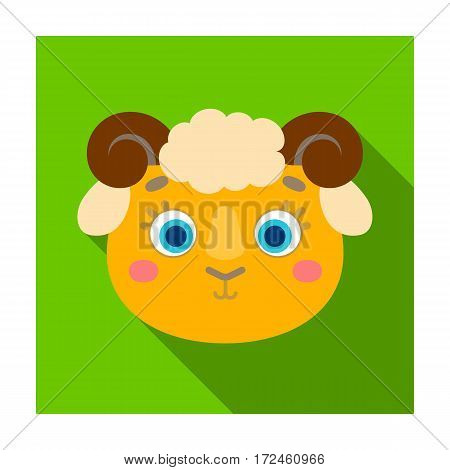 Ram muzzle icon in flat design isolated on white background. Animal muzzle symbol stock vector illustration.