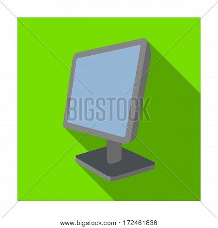Computer monitor icon in flat design isolated on white background. Personal computer accessories symbol stock vector illustration.