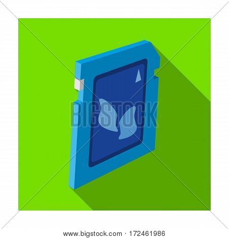 SD card icon in flat design isolated on white background. Personal computer accessories symbol stock vector illustration.