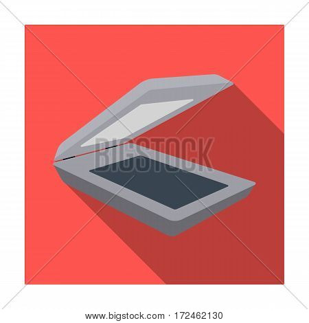 Scanner icon in flat design isolated on white background. Personal computer accessories symbol stock vector illustration.
