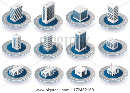 Isometric 3D city icons with houses skyscrapers buildings for Web sites and applications