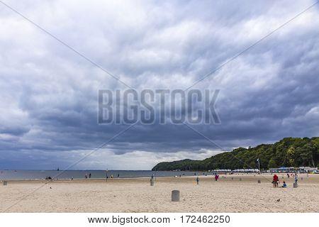 Municipal beach in Gdynia city Baltic sea Poland. Cloudy summer day