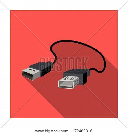 USB cable icon in flat design isolated on white background. Personal computer accessories symbol stock vector illustration.