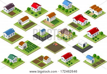Isometric icon rural countryside with houses gardens parks for Web sites and applications