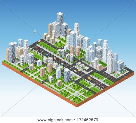 Megapolis 3d isometric three-dimensional view of the city. Collection of houses skyscrapers buildings built and supermarkets with streets and traffic. The stock vector