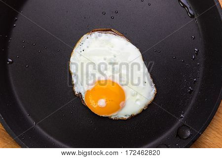 Fried eggs in a frying pan view from above
