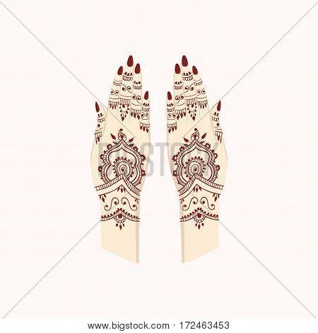 Hands with Henna Mehendi Patterns. Vector illustration Traditional Arts Design