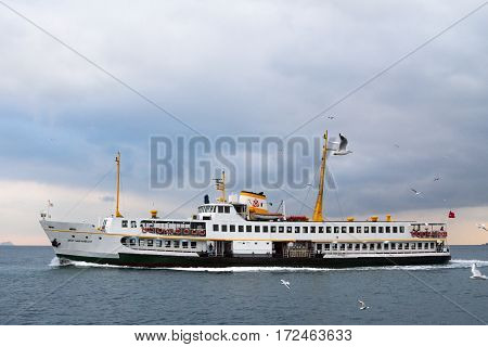 ISTANBUL TURKEY - DECEMBER 29 2015: Ferryboat on the Bosphorus strait in Istanbul on a Europe Asia route connecting the two sides of the city
