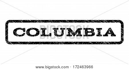 Columbia watermark stamp. Text caption inside rounded rectangle frame with grunge design style. Rubber seal stamp with unclean texture. Vector black ink imprint on a white background.