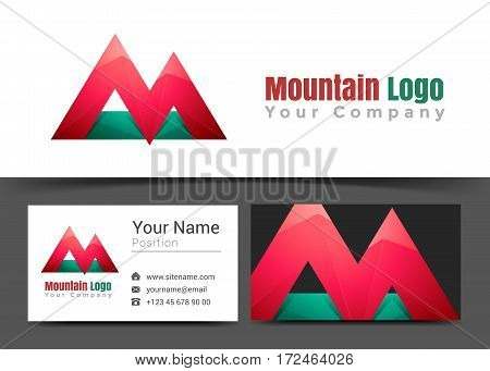 Modern Mountain letter M Corporate Logo and Business Card Sign Template. Creative Design with Colorful Logotype Visual Identity Composition Made of Multicolored Element. Vector Illustration.
