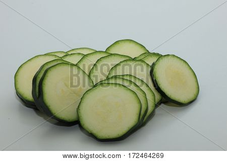 Fresh zucchini or courgette cut in thin slices