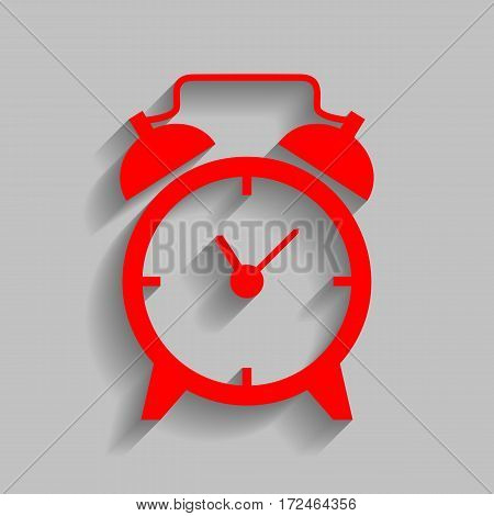 Alarm clock sign. Vector. Red icon with soft shadow on gray background.