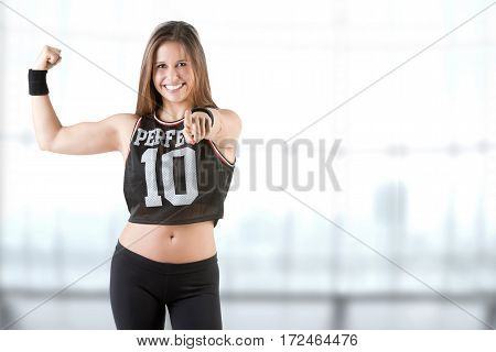 Sporty Woman Pointing At You