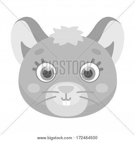 Mouse muzzle icon in monochrome design isolated on white background. Animal muzzle symbol stock vector illustration.
