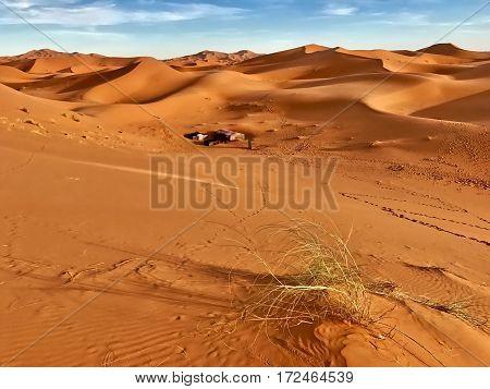 Morocco, Merzouga, Februar 9, 2017: A Berber bivouac in the Sahara desert near Merzouga in Morocco.
