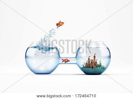 Goldfish leaping in an aquarium with a castle instead another fish pass from the tube. way to improvement and progress concept. 3D Rendering