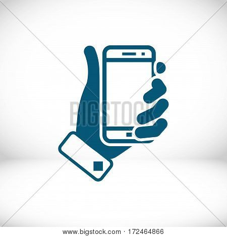 phone in hand icon stock vector illustration flat design