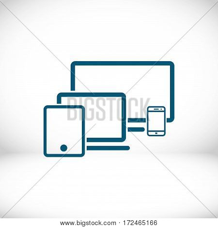 computer laptop tablet phone icon stock vector illustration flat design