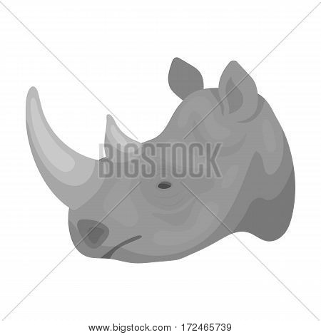 Rhinoceros icon in monochrome design isolated on white background. Realistic animals symbol stock vector illustration.