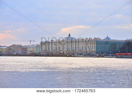 Building Academy of Arts and Neva River at evening in St.Petersburg Russia.