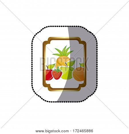 sticker colorful silhouette curved rectangle decorative heraldic frame with still life fruits vector illustration