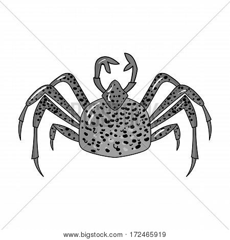 King crab icon in monochrome design isolated on white background. Sea animals symbol stock vector illustration.