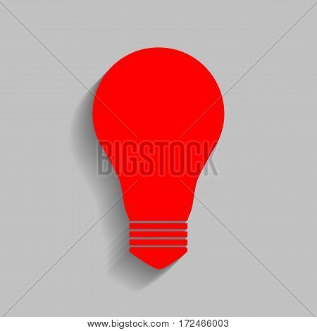 Light lamp sign. Vector. Red icon with soft shadow on gray background.