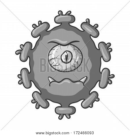 Purple virus icon in monochrome design isolated on white background. Viruses and bacteries symbol stock vector illustration.