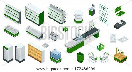 Vector isometric supermarket interior plan. Image includes Cash Truck, check, credit card, money, payment, product, purchase, scanner, furniture and equipment. Shelves for different kinds of goods poster