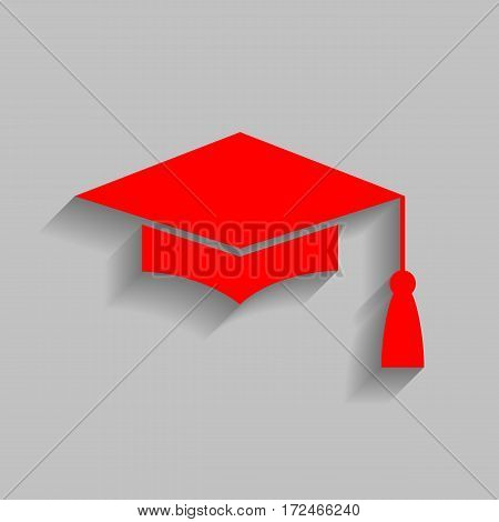 Mortar Board or Graduation Cap, Education symbol. Vector. Red icon with soft shadow on gray background.